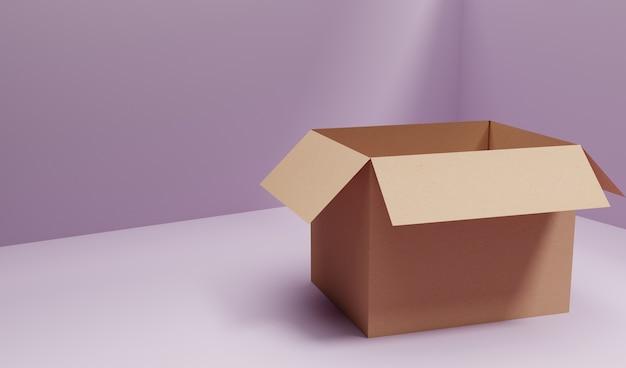 3d render caja de cartón de envío general en habitación púrpura Foto Premium
