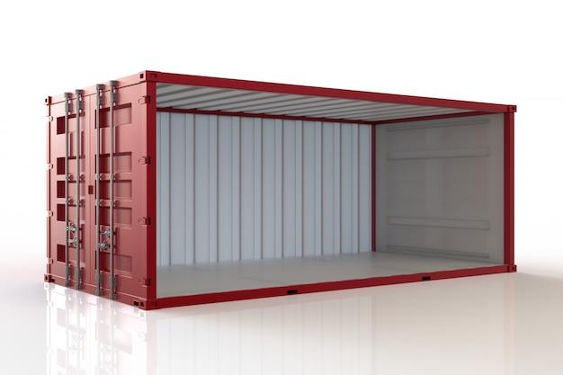 3d render contenedor abierto sobre fondo blanco Foto Premium
