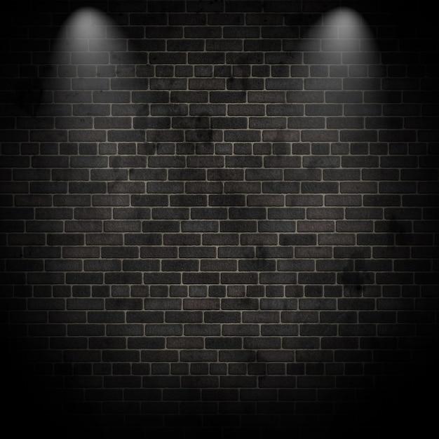 3d render de focos en una pared de ladrillo grunge Foto Gratis