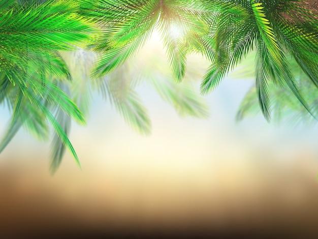 3d render de hojas de palmera contra un fondo borroso Foto Gratis