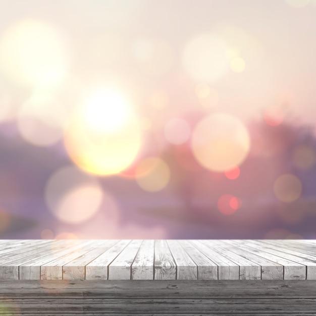 3d render de una mesa de madera blanca mirando a un paisaje soleado borroso Foto Gratis