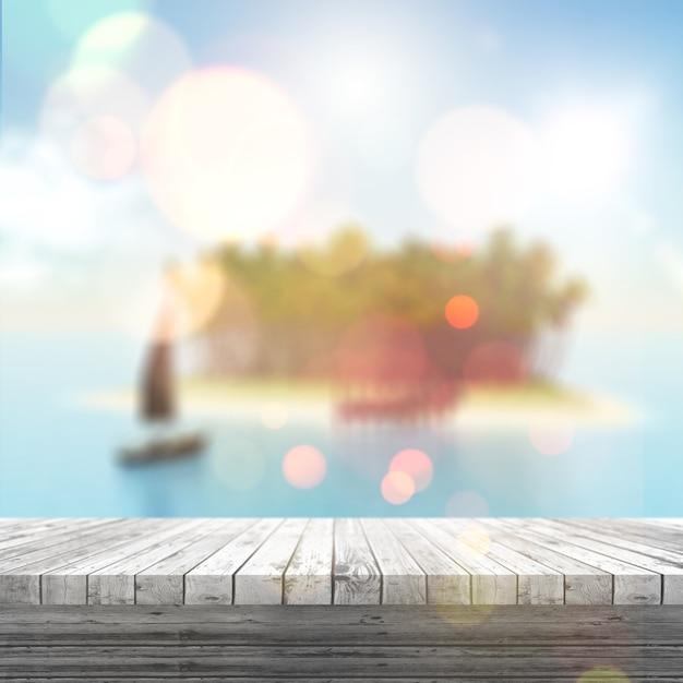 3d render de una mesa de madera blanca mirando a un paisaje tropical borroso Foto Gratis