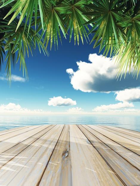 3d render de una mesa de madera mirando hacia el océano tropical Foto Gratis