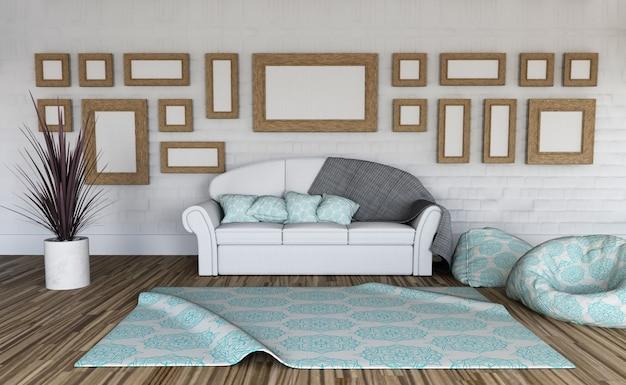 3d render de un interior de habitación con una colección de marcos en blanco en la pared Foto gratis