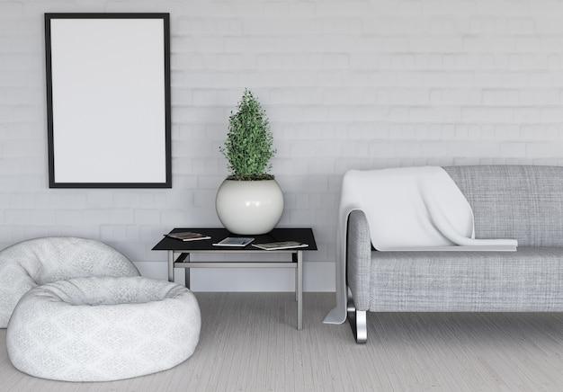 3d render de un interior moderno con marco de cuadro en blanco Foto gratis