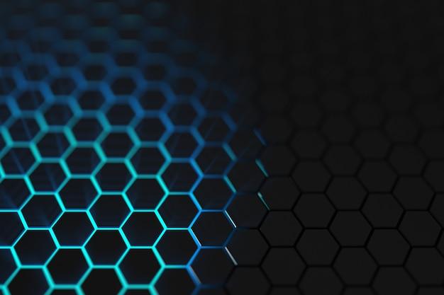 3d render luz azul fondo hexagonal Foto Premium