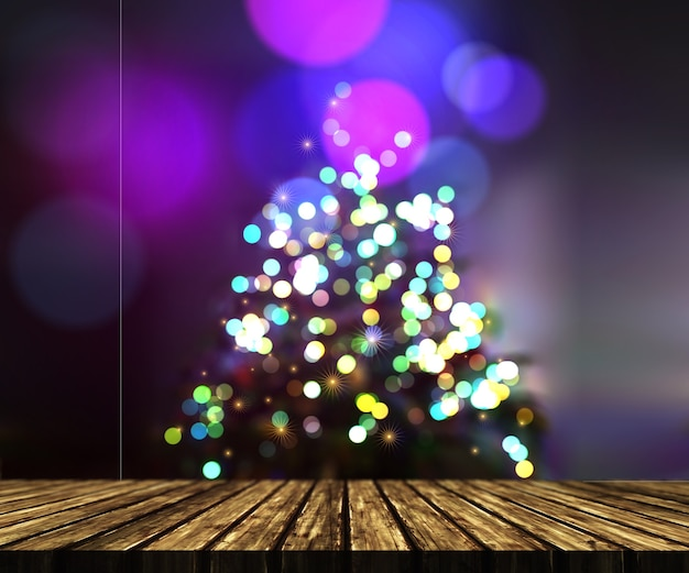 3d render de una mesa de madera contra un fondo de árbol de navidad desenfocado Foto gratis