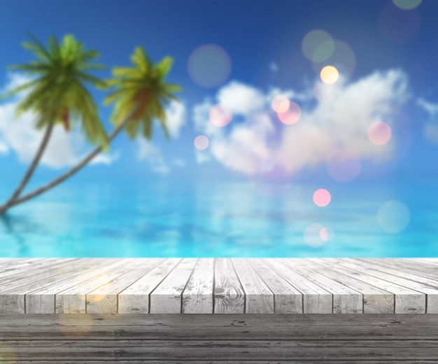 3d render de una mesa de madera mirando hacia un paisaje tropical Foto gratis