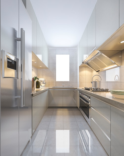 3d rendering escandinavo vintage cocina moderna con comedor Foto Premium