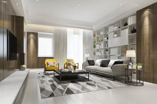 3d rendering loft de lujo con sillón amarillo con estantería Foto Premium