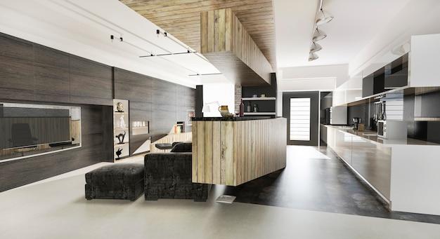 3d rendering madera moderna sala de estar y comedor Foto Premium