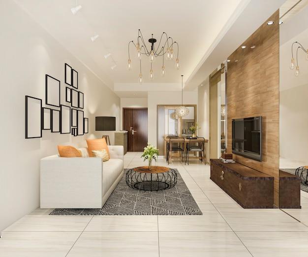 3d rendering moderno comedor y sala de estar con decoración de lujo Foto Premium