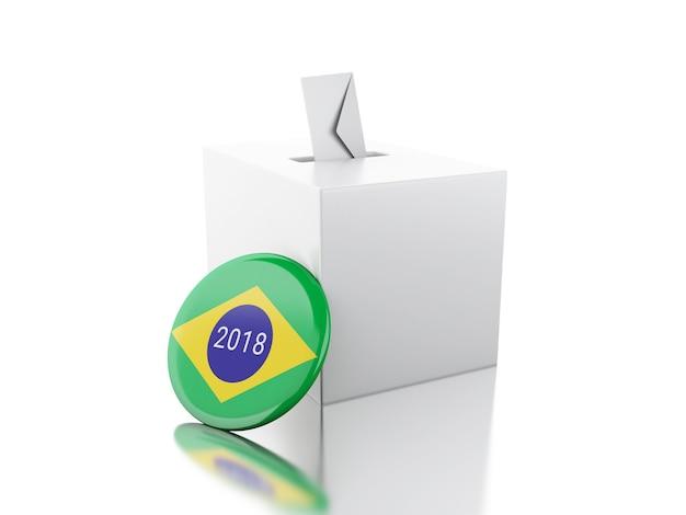 3d urna con pin de brasil. elecciones 2018. Foto Premium