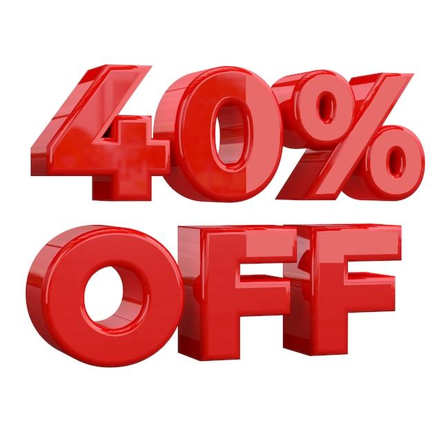 40% de descuento sobre fondo blanco, oferta especial, gran oferta, venta. cuarenta por ciento de descuento promocional Foto Premium