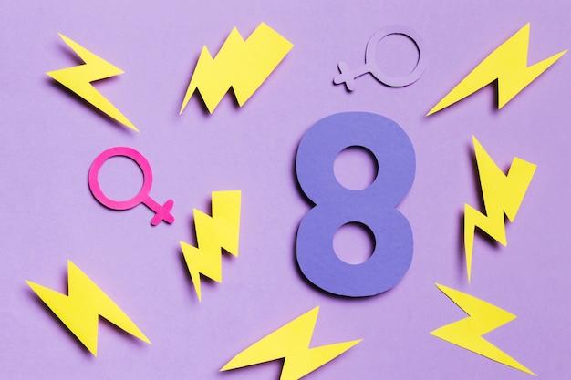 8 de marzo con signos de género masculino y femenino Foto gratis
