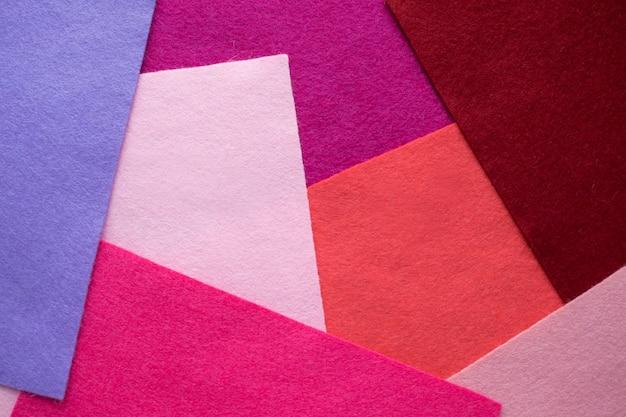 Abanico de material textil de fieltro coloreado brillante. muestras de fieltro Foto Premium