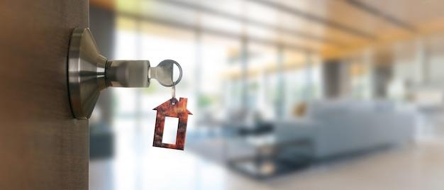Abra la puerta en casa con la llave en el ojo de la cerradura, nuevo concepto de vivienda Foto Premium