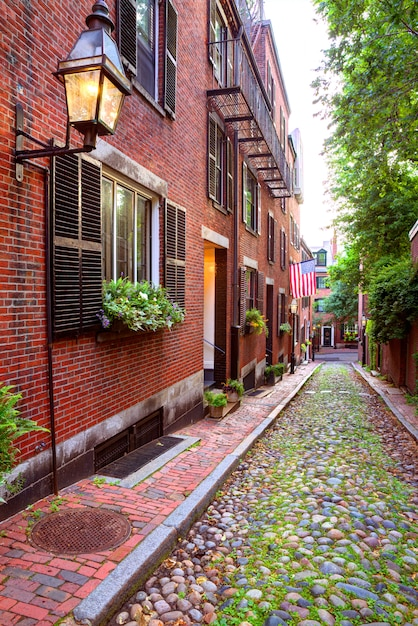 Acorn street beacon hill cobblestone boston Foto Premium