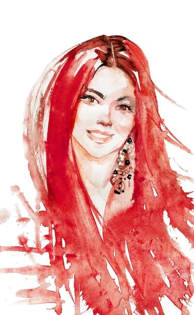 Acuarela belleza joven cabeza roja mujer. dibujado a mano retrato de dama sonriente. ilustración de moda de pintura en blanco Foto Premium