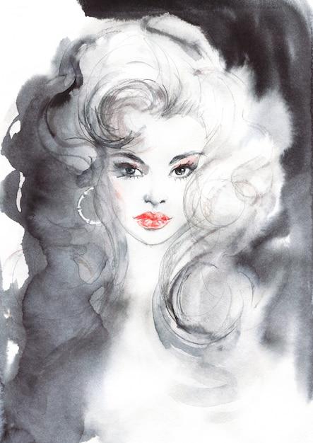 Acuarela belleza mujer europea. ilustración de moda de pintura en estilo vintage. retrato dibujado mano de bella dama Foto Premium