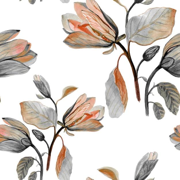 Acuarela dibujada mano hermosa flor de magnolia Foto Premium