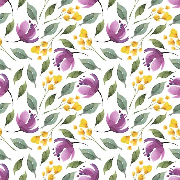 Acuarela floral de patrones sin fisuras de flores de color púrpura y hojas. Foto Premium