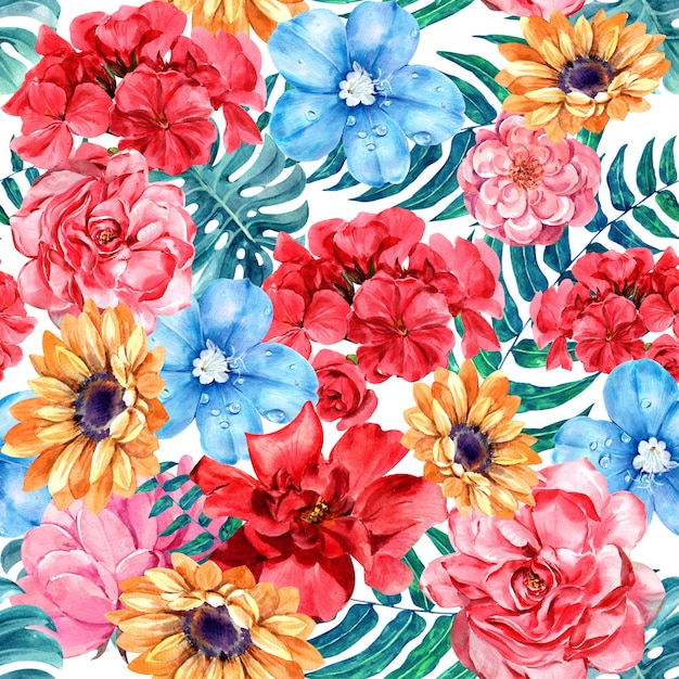 Acuarela floral de patrones sin fisuras. Foto Premium