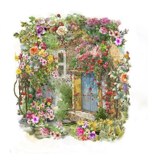 Acuarela de flores de colores abstractos. Foto Premium