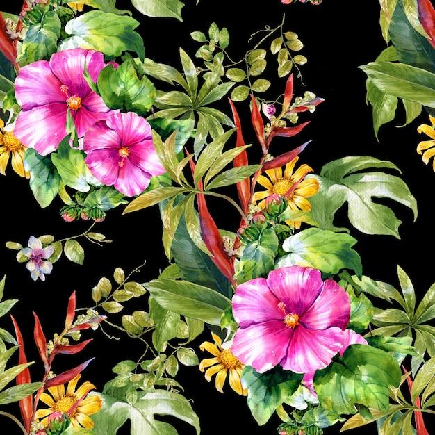 Acuarela de hojas y flores, de patrones sin fisuras en la oscuridad Foto Premium