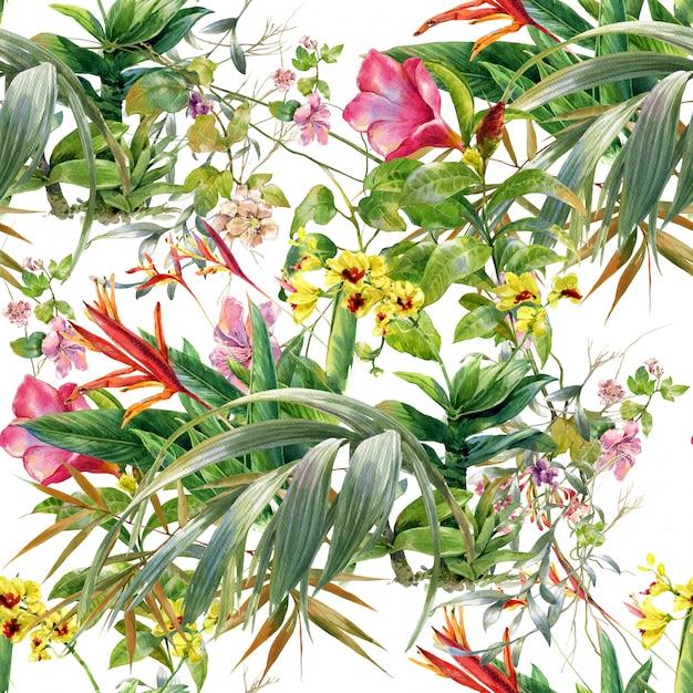 Acuarela de hojas y flores, patrones sin fisuras sobre fondo blanco. Foto Premium