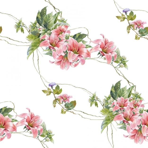 Acuarela de hojas y flores, de patrones sin fisuras sobre fondo blanco. Foto Premium