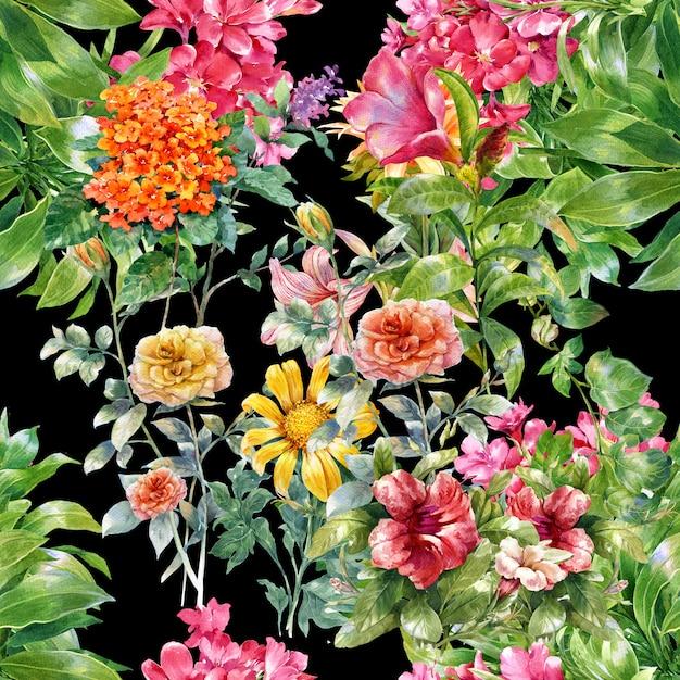 Acuarela de hojas y flores de patrones sin fisuras Foto Premium