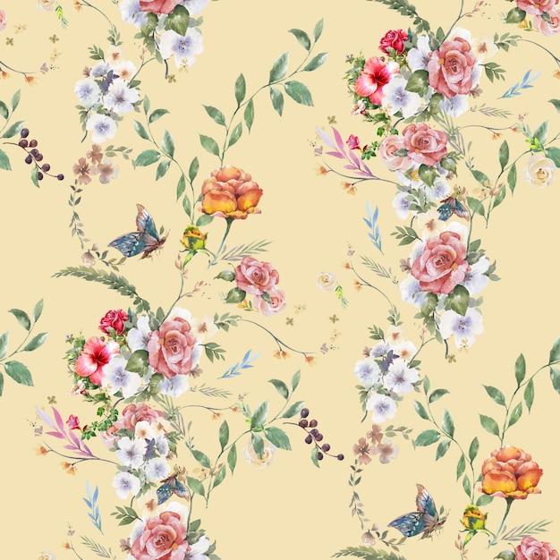 Acuarela de hojas y flores, patrones sin fisuras Foto Premium