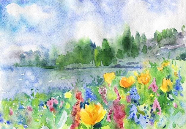 Acuarela paisaje con flores, lago y bosque. Foto Premium