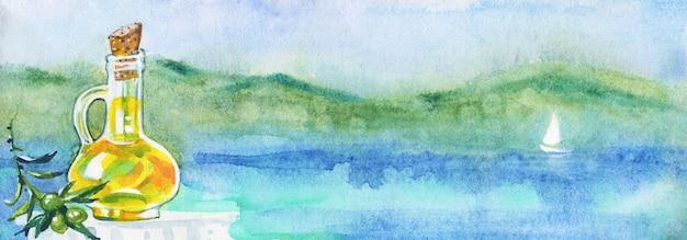 Acuarela paisaje marino con aceite de oliva. Foto Premium