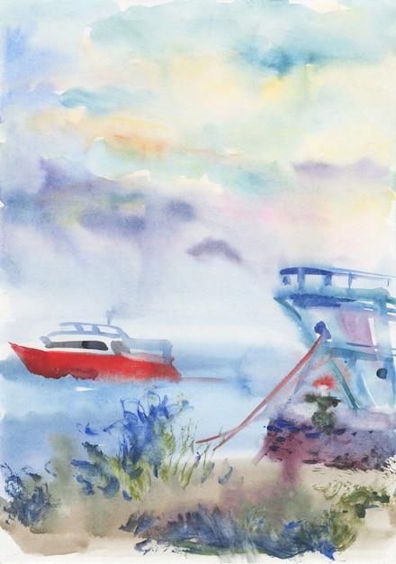 Acuarela paisaje marino con barco. Foto Premium
