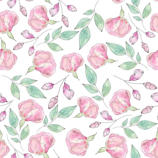 Acuarela de patrones sin fisuras de flores y hojas de verano Foto Premium