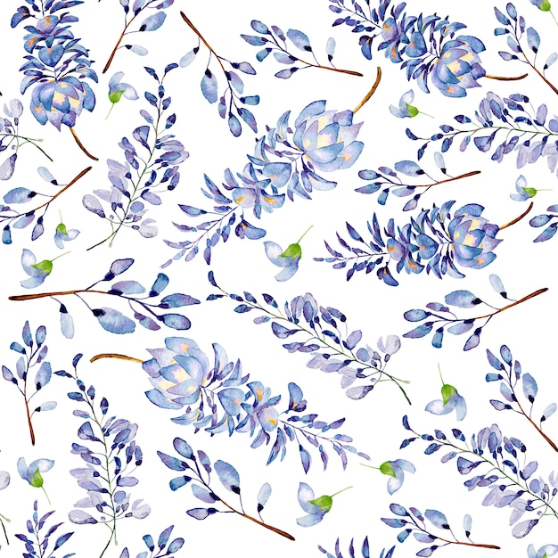 Acuarela de patrones sin fisuras de flores de verano y hojas sobre un fondo claro. Foto Premium