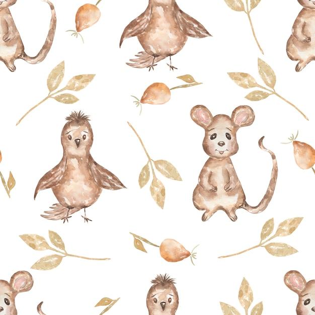 Acuarela de patrones sin fisuras con pájaro y hojas, ratón y perro rosa. fondo de animales de bosque dibujado a mano. patrón de otoño Foto Premium