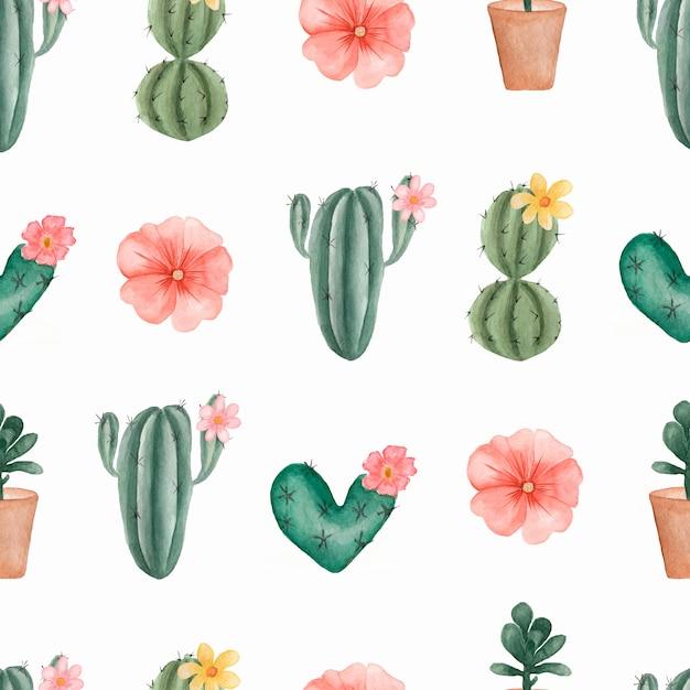 Acuarela pintada a mano patrón de cactus tropical y suculentas en la olla. Foto Premium