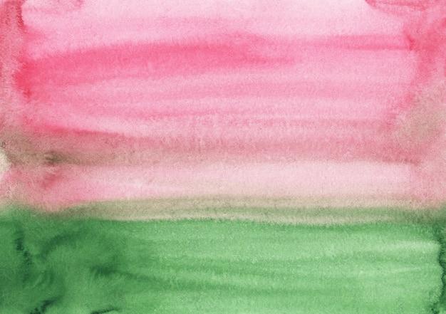 Acuarela rosa claro y verde textura de fondo abstracto. trazos de pincel sobre papel. Foto Premium