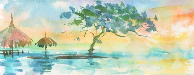 Acuarelas palmeras tropicales, playa. Foto Premium