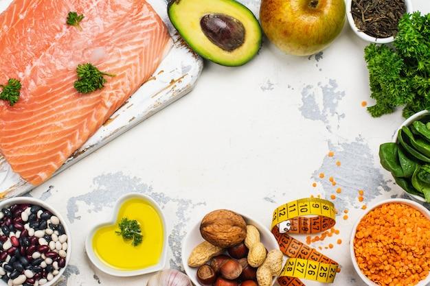 Alimentos bajos en colesterol Foto Premium