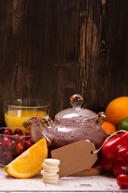 Alimentos y bebidas ricos en vitamina c natural. Foto Premium