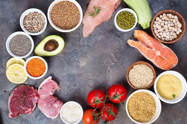 Alimentos saludables y ecológicos selección de comidas limpias ...