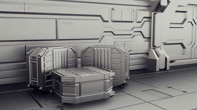 Almacén de ciencia ficción donde se almacenan los contenedores. laboratorio en una nave espacial. Foto Premium