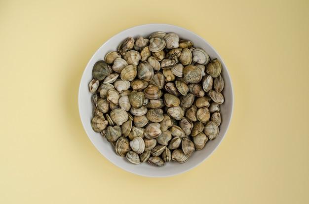 Almejas o moluscos en un tazón blanco. vista superior Foto Premium