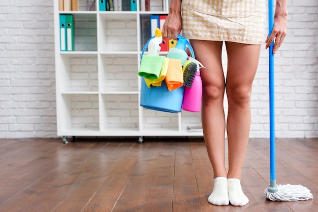 Ama de casa femenina de pie en casa con producto de limpieza y trapeador Foto gratis