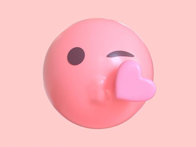 Amor emoción personaje de dibujos animados rosa emoji 3d render Foto Premium
