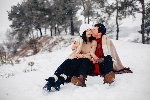 Amorosa pareja caminando en un parque de invierno Foto gratis